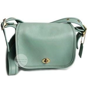 Vintage Coach Bag Legacy Small Flap Aqua Leather